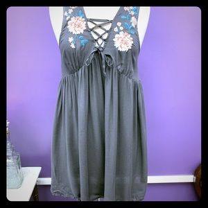 Grey dress with floral embroidery NWT